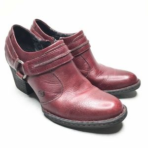 Born Leather Red Bootie Strap Pointed Toe Shootie